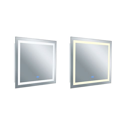 Rectangle blanc mat LED 40 po. Miroir De notre collection Abril