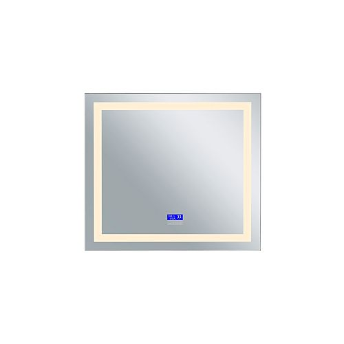 LED rectangle blanc mat 40 po. Miroir De notre collection Abril avec LED blanc chaud
