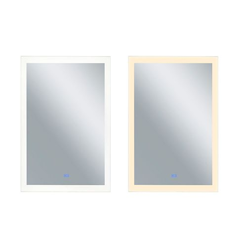 Rectangle blanc mat LED 30 po. Miroir De notre collection Abigail
