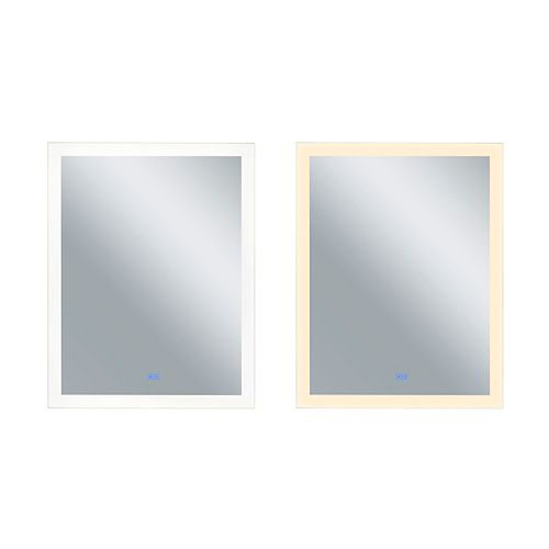 Rectangle blanc mat LED 32 po. Miroir De notre collection Abigail