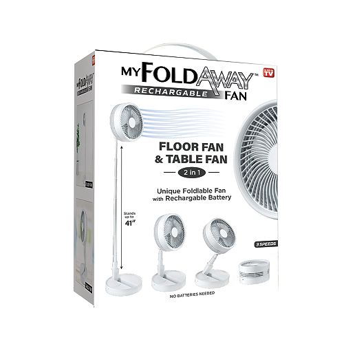 2-in-1 Adjustable Height Portable My Foldaway Rechargeable Floor and Table Fan