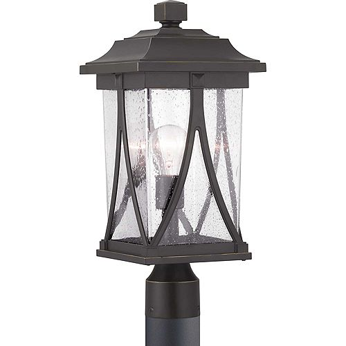 Lanterne sur poteau à une lumière, collection Abbott - fini bronze