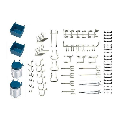 (Paquet de 43) Assortiment de crochets pour panneau perforé , Zinc