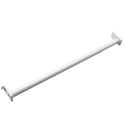 Adjustable Closet Rod with Fixed Ends, 48 to 72 in, White