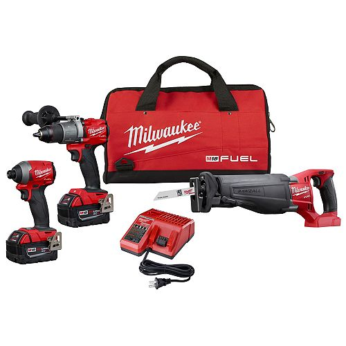 M18 FUEL 18V Lithium-Ion Brushless Cordless Combo Kit (3-Tool) w/(2) 5Ah Batteries & Charger