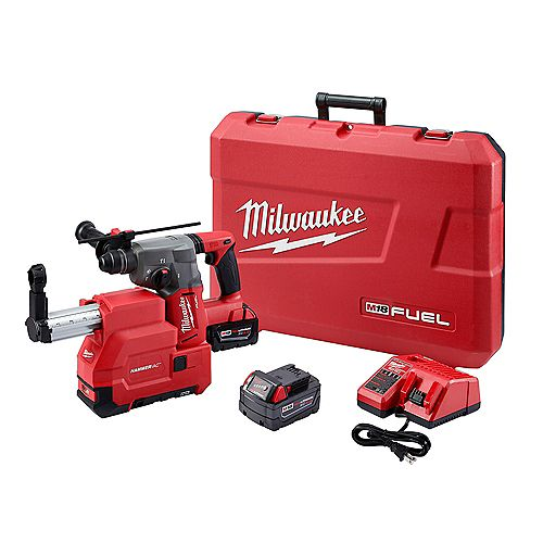 Milwaukee Tool M18 FUEL sans fil 1-inch SDS-Plus Marteau rotatif avec kit d'extraction poussière (2) Piles 5.0Ah