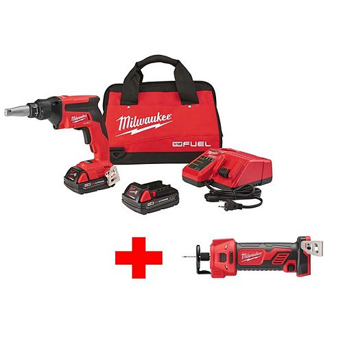 M18 FUEL 18-Volt Lithium-Ion Brushless Cordless Drywall Screw Gun Compact Kit with M18 Cutout Tool