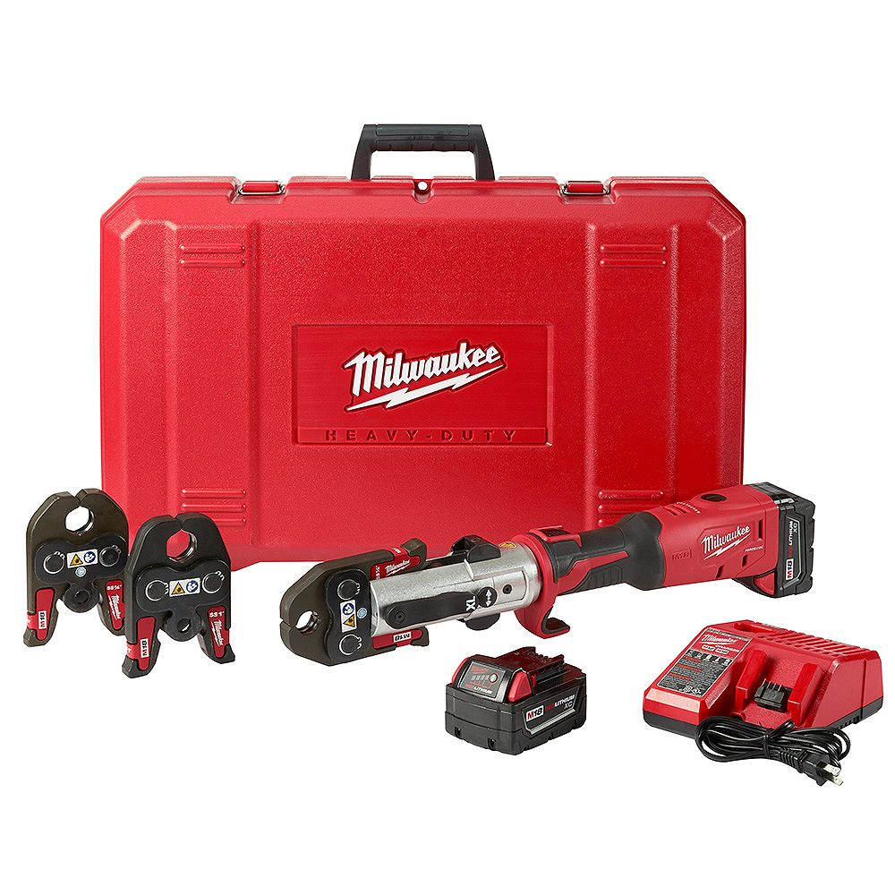 Milwaukee Tool M18 18V Lithium-Ion 1/2 -inch to 1 -inch FORCE LOGIC Long Throw Cordless Press Tool Kit