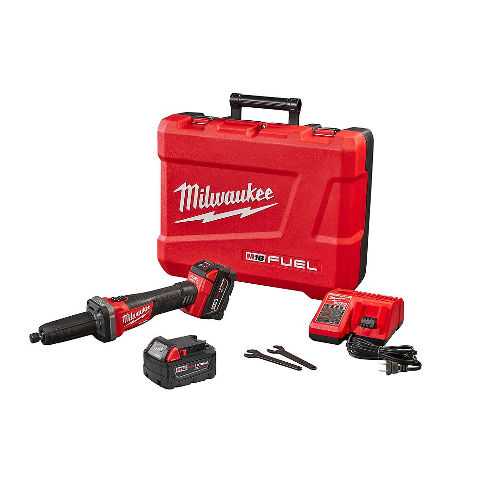 Milwaukee Tool M18 FUEL sans fil et sans brosse 1/4 de pouce Kit de meuleuse à matrice W/(2) 5.0Ah Batteries
