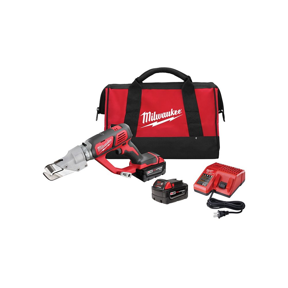 Milwaukee Tool M18 18V Lithium-Ion Cordless 18-Gauge Single Cut Metal Shear Kit W/(2) 3.0Ah Batteries & Charger