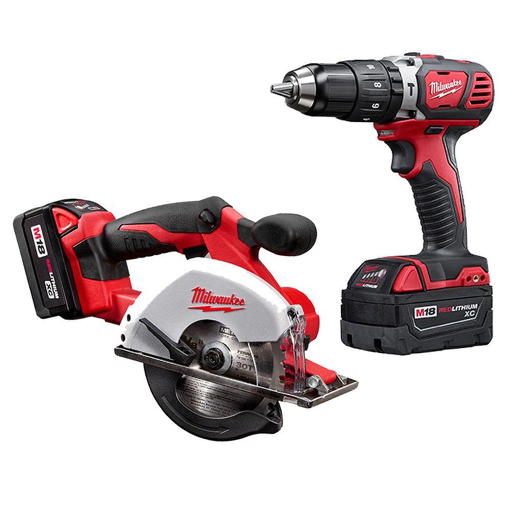 Milwaukee Tool M18 18V Lithium-Ion Cordless Compact Drill/Metal Circular Saw Combo Kit W/ (2) 3.0Ah Batteries