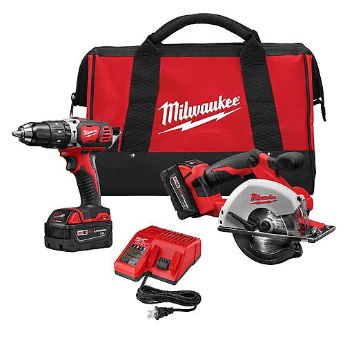 Milwaukee Tool M18 18V Lithium-Ion Cordless Compact Drill/Metal Circular Saw Combo Kit W/ (2) 3.0Ah Batteries