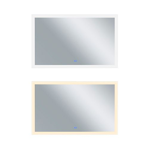 Rectangle blanc mat LED 58. Miroir De notre collection Abigail