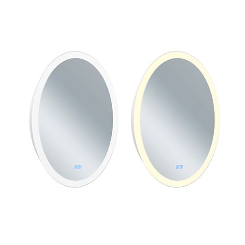Oval Matte White LED 22 inch Mirror From our Agostino Collection