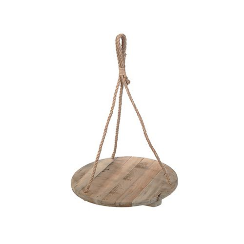 Ceiling Hanging Single Round Wooden Planter
