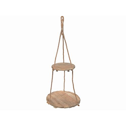 IH Casa Decor Ceiling Hanging Double Round Wooden Planter