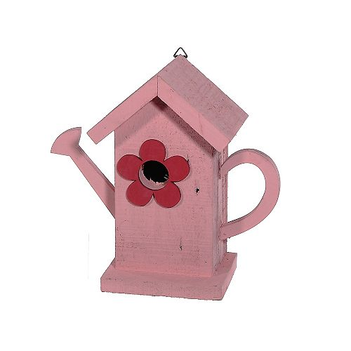 Wooden Watering Can Birdhouse (Pink)