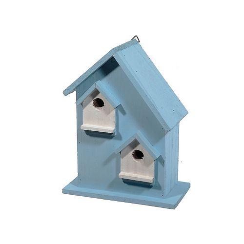 Volière en bois avec 2 ouvertures (bleu clair)