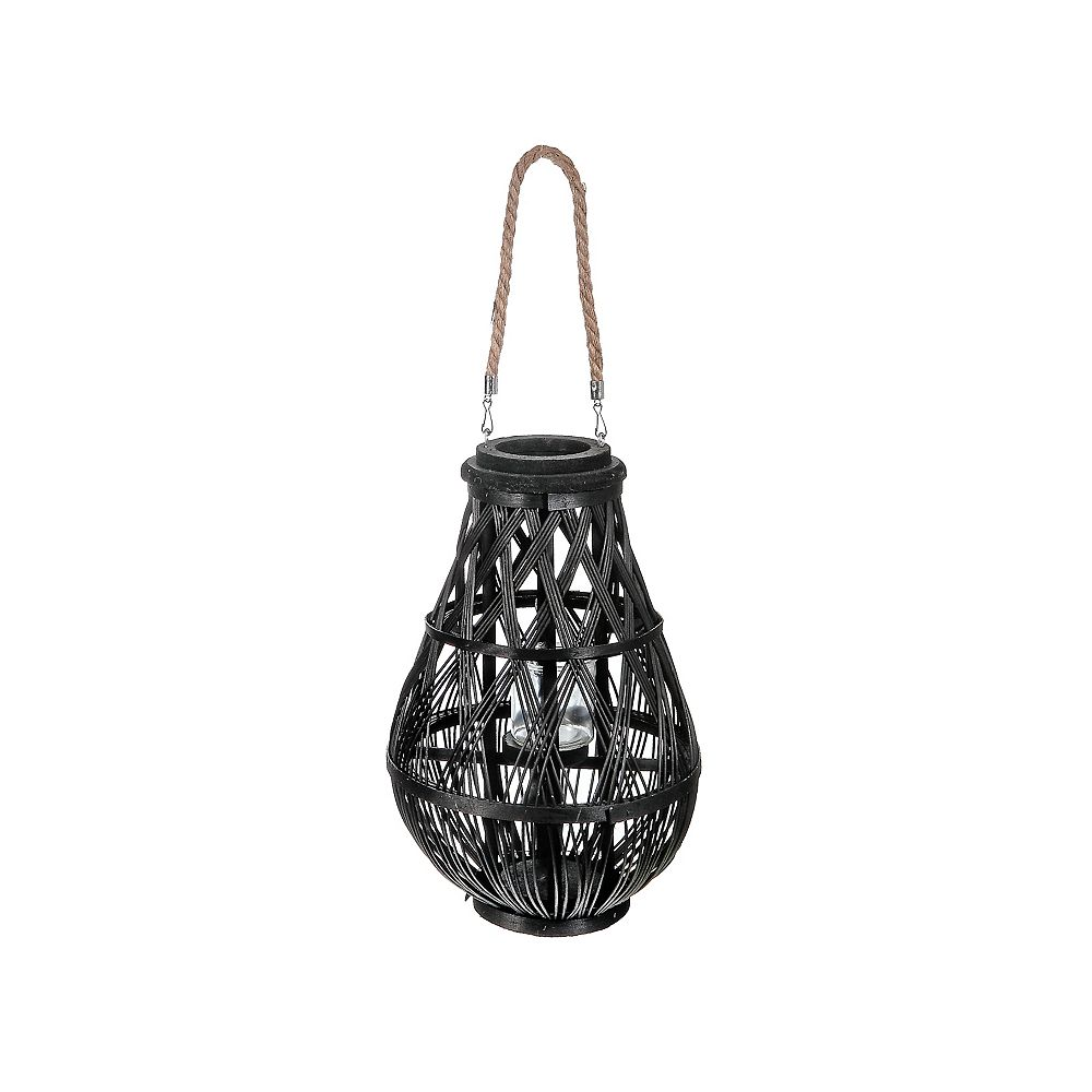 "IH Casa Decor Hanging Woven Bamboo Lantern (Black) (17"")"