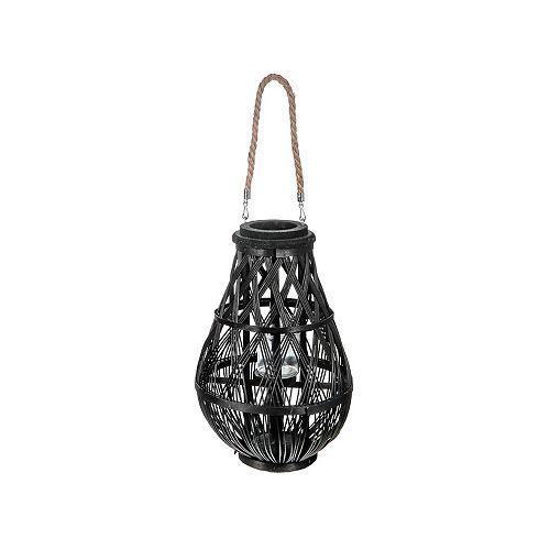 "Hanging tissé bambou lanterne (noir) (17"" )"