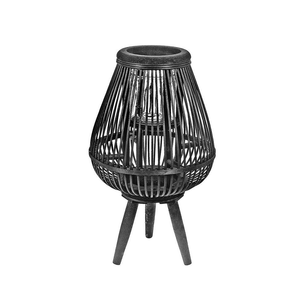 IH Casa Decor Curvy Fanned Bamboo Lantern On Tripod (Black)