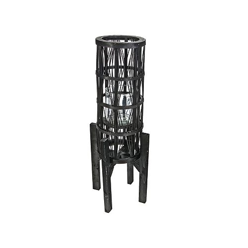 Round Tall Bamboo Lantern On Stand (Black)