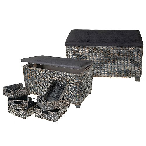 IH Casa Decor Set Of 8 Gray Wicker Ottoman With Storage Baskets
