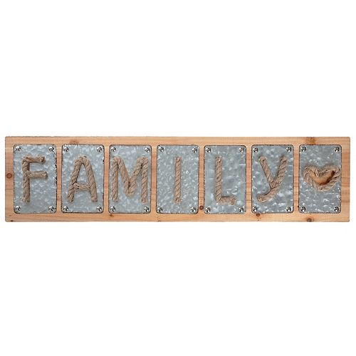 Family Galvanized Wall Sign With Rope