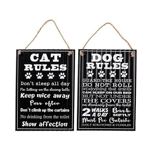 Rippled Metal Wall Sign (Dog/Cat Rules) (Asstd)