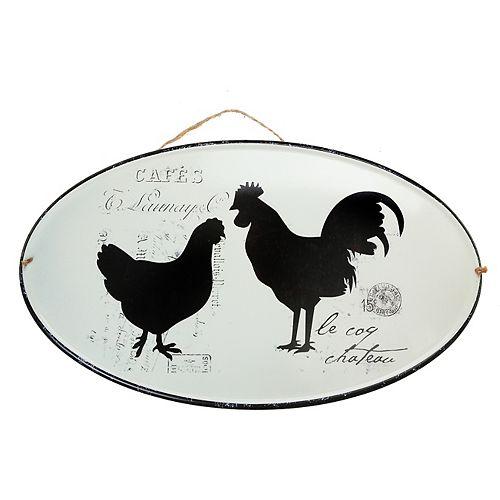 IH Casa Decor Metal Oval Wall Art (Rooster)