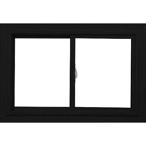 Farley Windows 48 Po x 36 Po  Fenêtre noir/blanc coulissante double avec technologie Vertex3 et Energy Star