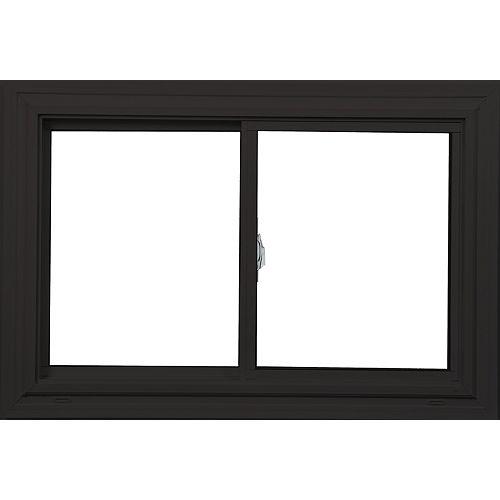 Farley Windows 36 Po x 24 Po  Fenêtre brun commerciale/blanc coulissante double avec tech Vertex3 et Energy Star