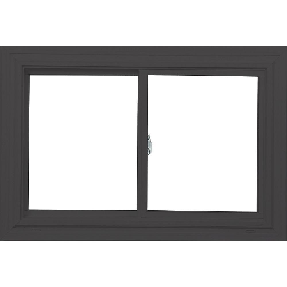Farley Windows 48 Po x 30 Po  Fenêtre granite rustique/blanc coulissante double avec tech Vertex3 et Energy Star