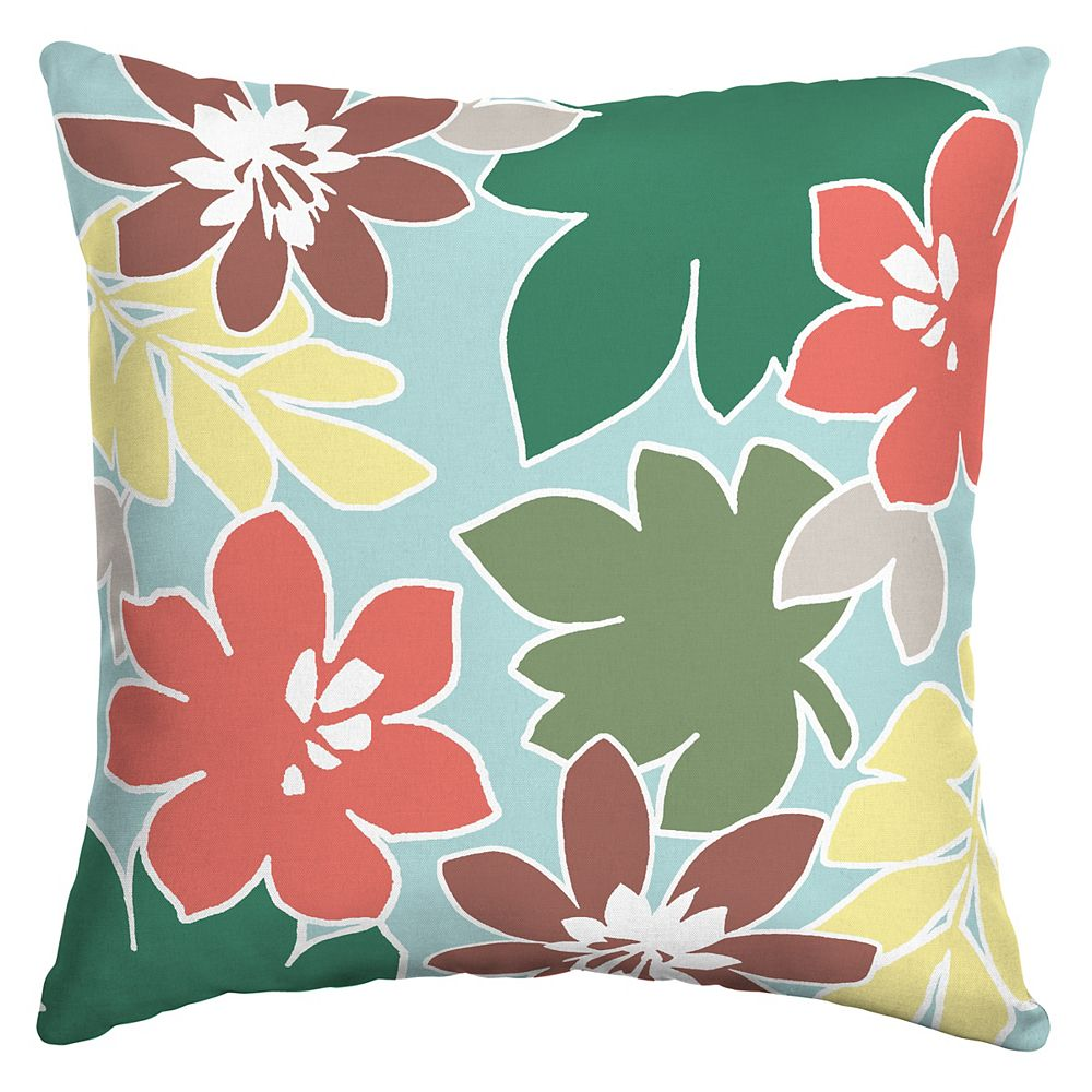 Hampton Bay Fade Resistant Outdoor Lumbar Square Pillow In Mimi Floral Pattern The Home Depot Canada