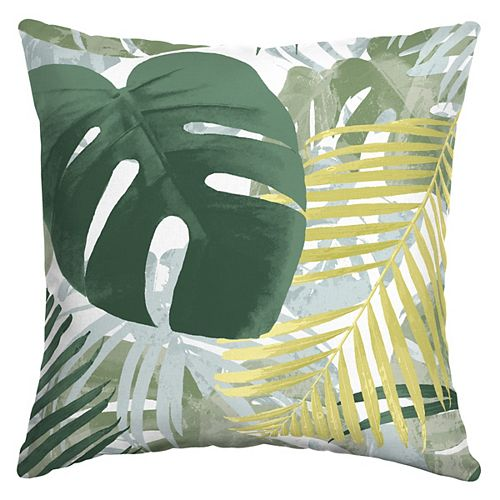 Palila Leaf Outdoor Square Throw Pillow