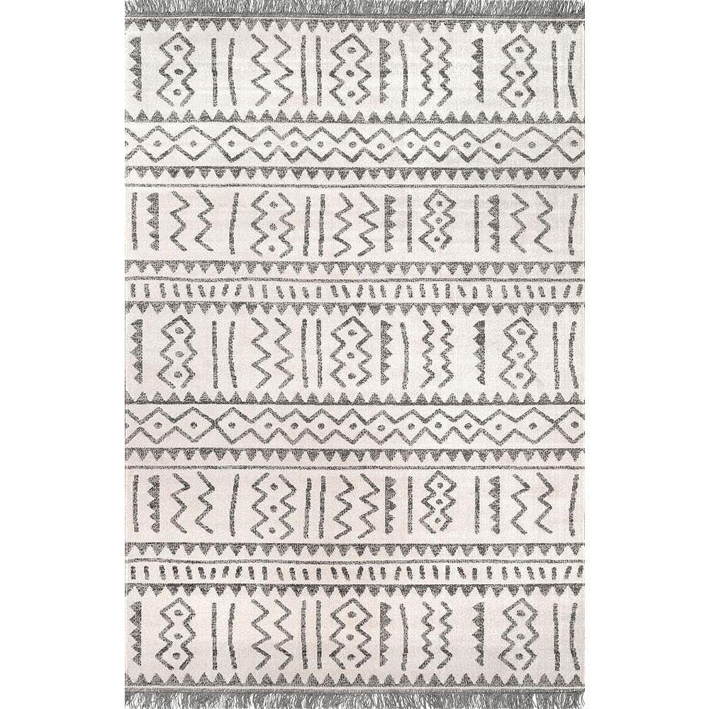 nuLOOM Tapis d'Extérieur Tribal Gretchen Gris Clair 5 ft. x 8 ft.