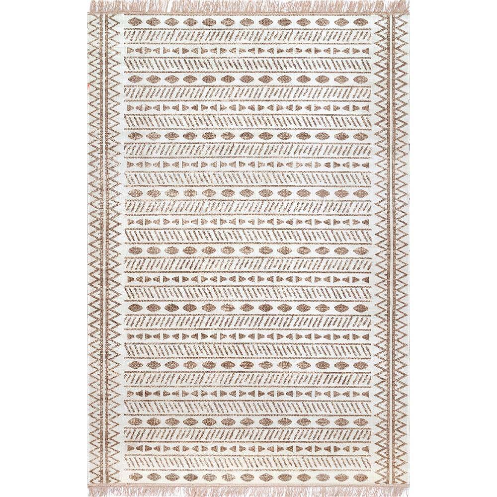 nuLOOM Tapis d'Extérieur Tribal Angie Beige 5 ft. x 8 ft.