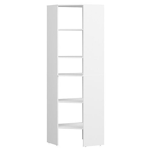 Style+ 25 in. D x 25 in. W x 82 in. H White Melamine 6-Shelves Corner Closet System