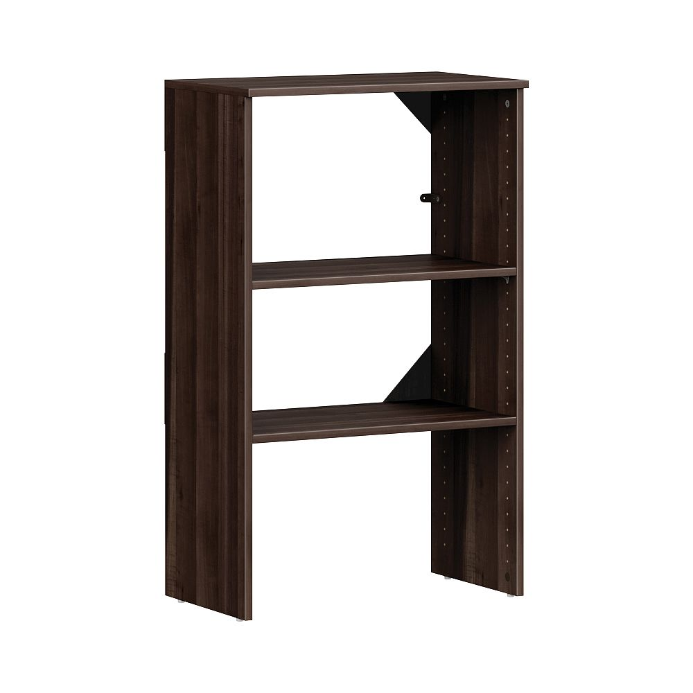 ClosetMaid Style+ 15in.D x 25in.W x 41in.H Modern Walnut Melamine 4-Shelf Stackable Base Unit Closet System
