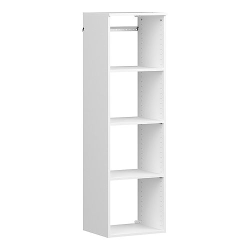 ClosetMaid Style+ 15 in. D x 16 in. W x 56 in. H White Melamine Hanging 5-Shelves Closet System
