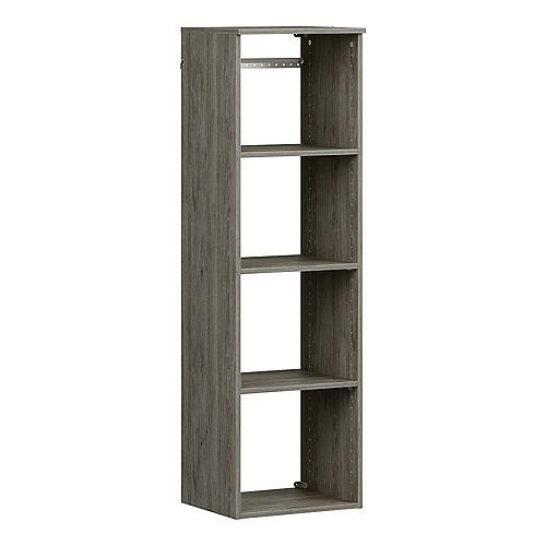 Style+ 15 in. D x 16 in. W x 56 in. H Coastal Teak Melamine Hanging 5-Shelves Closet System