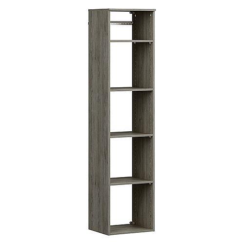 Style+ 15 in. D x 16 in. W x 72 in. H Coastal Teak Melamine Hanging 5-Shelves Closet System