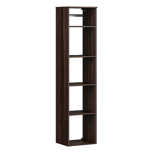 ClosetMaid Style+ 15 in. D x 16 in. W x 72 in. H Modern Walnut Melamine Hanging 5-Shelves Closet System