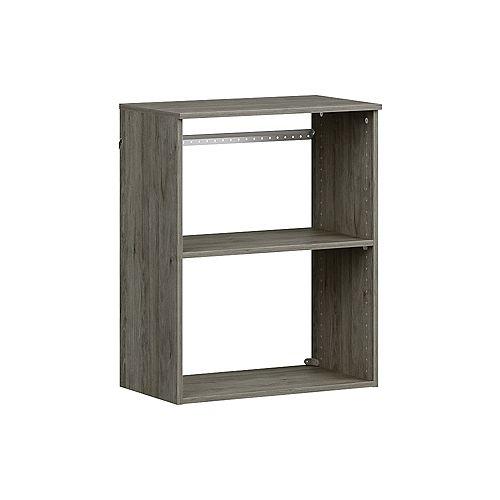 Style+ 15 in. D x 25 in. W x 31 in. H Coastal Teak Melamine Hanging 3-Shelves Closet System