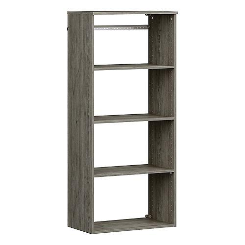 Style+ 15 in. D x 25 in. W x 56 in. H Coastal Teak Melamine Hanging 5-Shelves Closet System