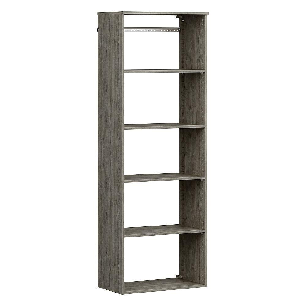 ClosetMaid Style+ 15 in. D x 25 in. W x 72 in. H Coastal Teak Hanging 6-Shelves Melamine Closet System