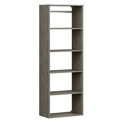 Style+ 15 in. D x 25 in. W x 72 in. H Coastal Teak Hanging 6-Shelves Melamine Closet System
