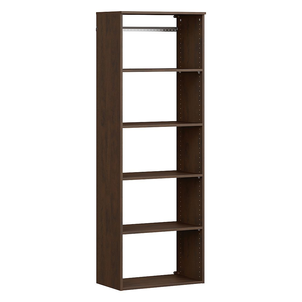 ClosetMaid Style+ 15 in. D x 25 in. W x 72 in. H Chocolate Hanging 6-Shelves Melamine Closet System