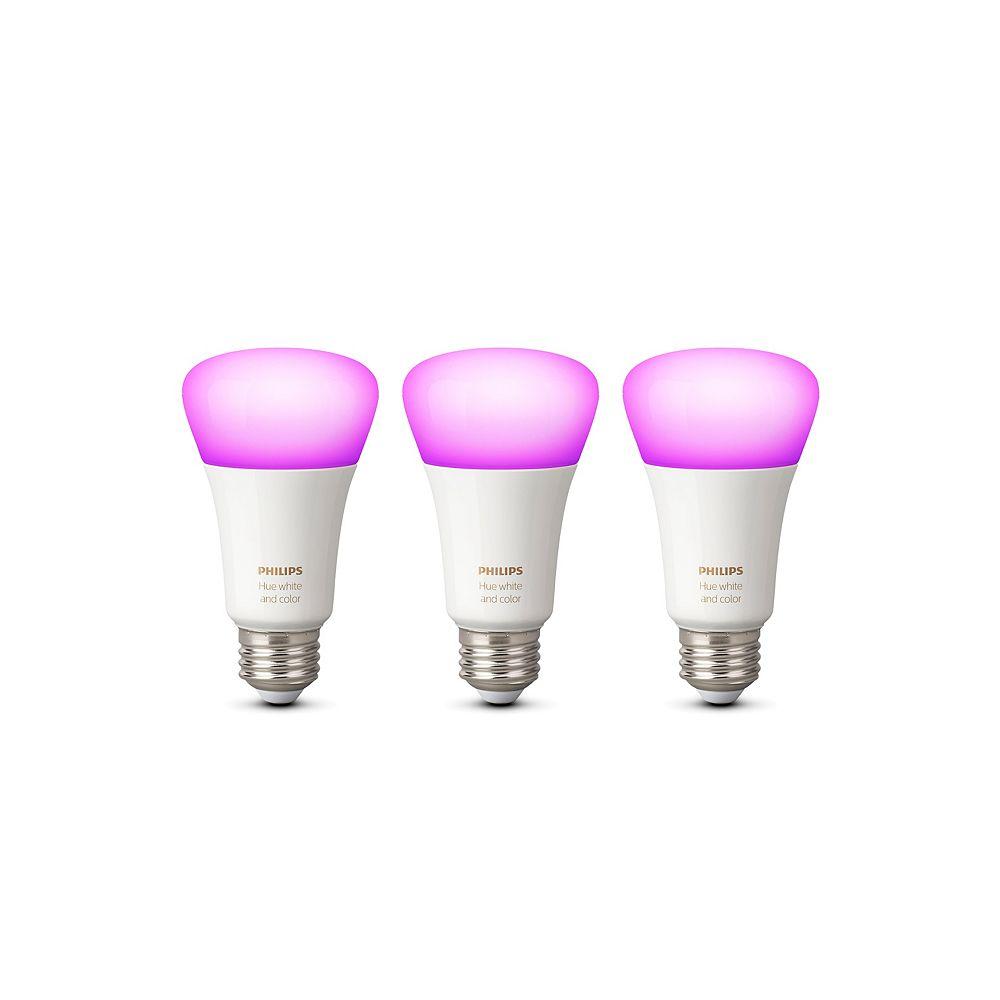 Philips HUE Ampoule LED intelligente A19 Ambiance blanche et couleur avec Bluetooth (pack de 3)