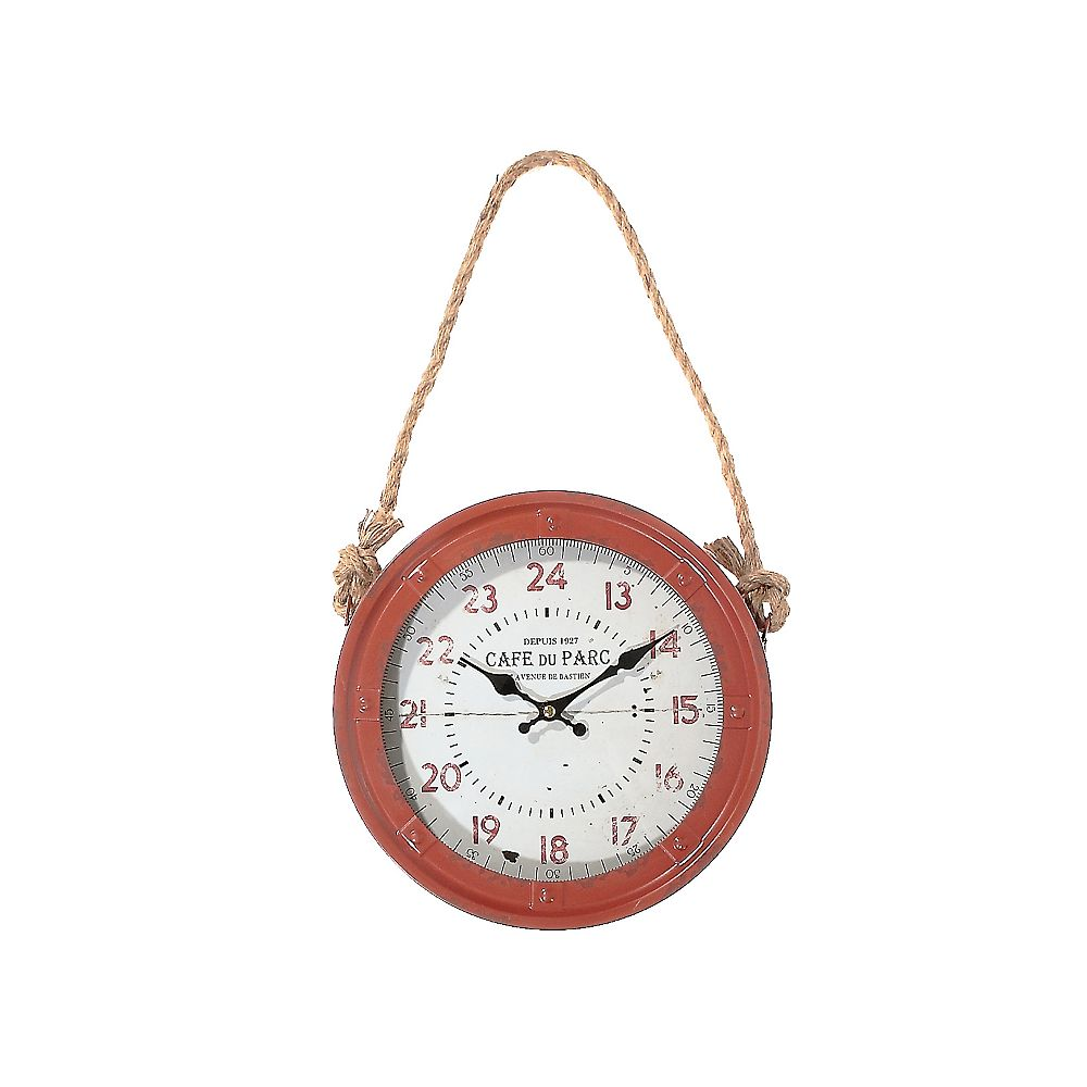 IH Casa Decor Metal Vintage Round Clock With Rope Handle (Red)